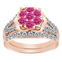 1.60 Ct Pink Sapphire & Clear Diamond 9k Rose Gold FN 925 Engagement Ring Set - $109.99