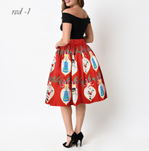 RED Christmas Print  A-line Swing Skirt Women High Waist Knee Length Flare Skirt image 6