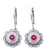 14K White Gold Antique Style Ruby or Blue Sapphire Diamond Dangle Earrings - $459.99+