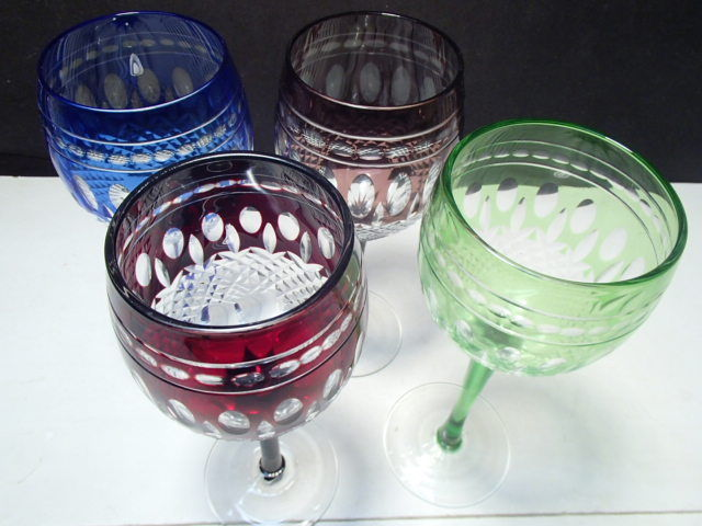 4 Cut to Clear Colored Wine Stems in the Clarendon Pattern
