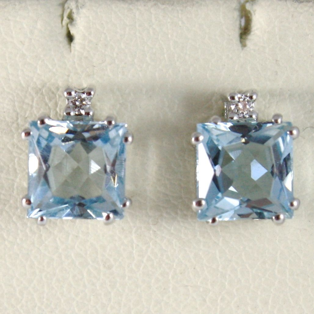 18K WHITE GOLD EARRINGS, PRINCESS CUT AQUAMARINE CT. 2.07 AND DIAMONDS CT. 0.02