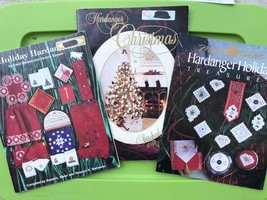 Christmas Hardanger Embroidery Pattern Book Lot Holiday Ornaments Doily ... - $38.61