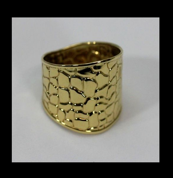 EternaGold 14K Gold Wide Band Ring Crocodile Pattern Size 7 Italy