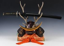 Japanese Beautiful Samurai Helmet -shikanosuke kabuto- with a Replica Blade image 2