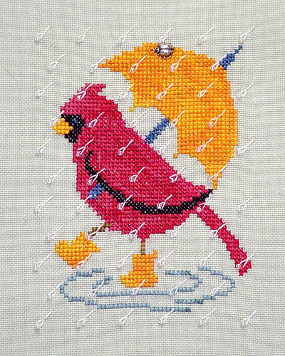 Primary image for Rainy Day Cardinal with charm cross stitch chart Handblessings
