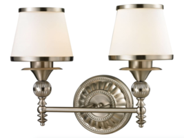 Elk Lighting Smithfield Collection 2 Bath Light, Brushed Nickel Bathroom Fixture - $181.43