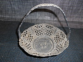 Antique Filigree Cutout BREAD ROLL HANDLE BASKET ornate Old Vtg Tablewar... - $49.49