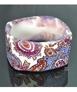 Paisley Bracelet Brown Blue and White Lucite - $12.00