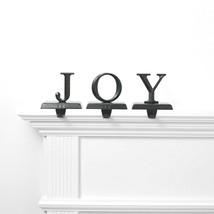 Set of 3 Joy Christmas Holiday Stocking Holder Matte Black Metal Wondershop NEW image 2