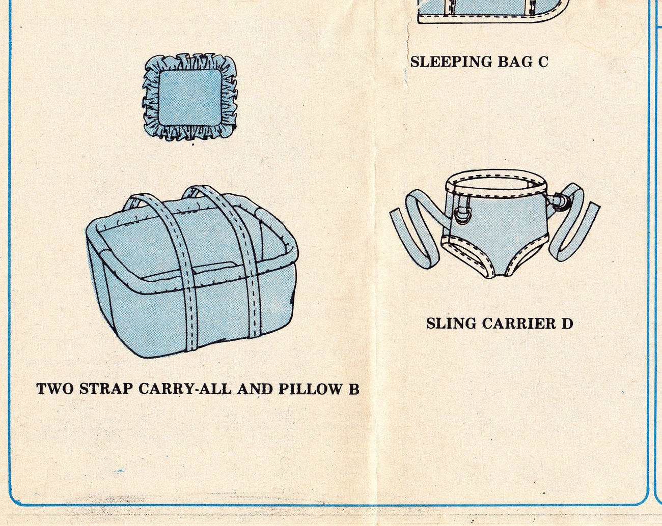 McCALL'S CRAFT PATTERN 9315 DOLL BASSINET, PILLOW, CARRY-ALL