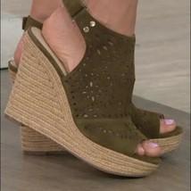NWT Marc Fisher khaki suede sandals wedges Harlea - $49.50