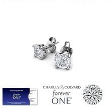 SALE! 0.50 Carat Moissanite Forever One Earrings 14K Gold (Charles&Colva... - $179.00