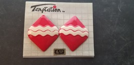 Vintage Temptation Brand Red With White Squiggly Striped Diamond Shape E... - $15.44