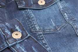 Men's Classic Distressed Casual Button Up Stretch Jean Trucker Denim Jacket image 4