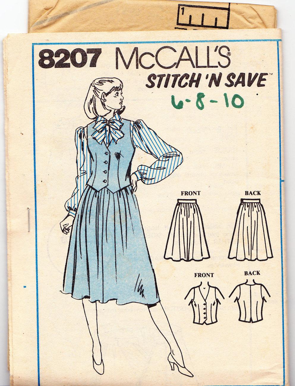 McCALL'S STITCH 'N SAVE PATTERN 8207 MISS VEST SKIRT SZ. 6-1 Bonanza