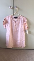 ELLEN TRACY CORAL LINEN SZ M ROLL TAB BUTTON UP Pink TOP BLOUSE SIDE PANELS - $31.68