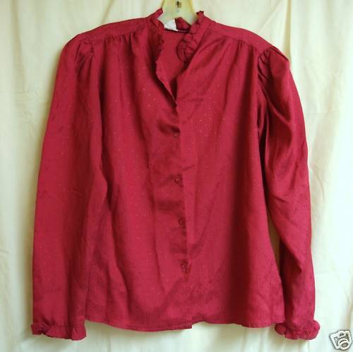 FREE WITH PURCHASE~Vintage Deep Pink Blouse Lg. (40)