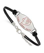 Sterling Silver Ss Rh-P Logoart Alpha Gamma Delta Enl Oval Black Leather... - $58.39