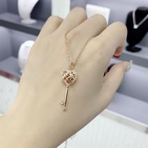 Swarovski skeleton key necklace Open heart clavicle chain Necklace jewel... - $38.19