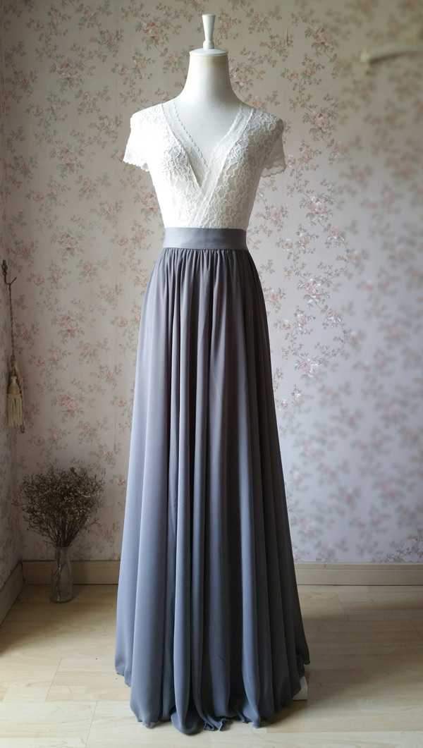 GRAY Skirt and Top Set Elegant Plus Size Gray Wedding Bridesmaids Outfit NWT