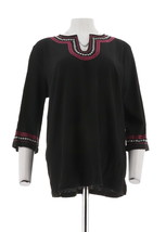 Denim & Co 3/4 Slv Crinkle Gauze Top Embroidery Black S NEW A291631 - $24.73
