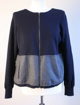 J. Crew S Two-tone Blue Gray Wool Full Zip Color Block Cardigan Sweater Jacket - $24.70