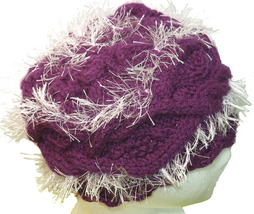 Purple hand knit hat with icy pink fringe - $25.00
