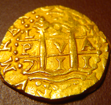PERU 1711 2 ESCUDOS 1715 FLEET Mel Fisher +Real 8 COA PIRATE GOLD COINS ... - $12,500.00