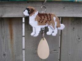 Saint Bernard crate tag or hang anywhere, ST dog, hand stitched kennel a... - $26.00