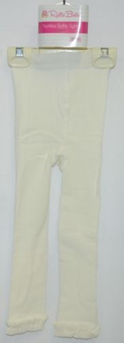RuffleButts RLKIV2T0000 Winter White Ruffle Footless Tights Size 2T to 4T