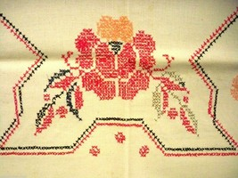 Vintage Kitchen Tablecloth Linen Handmade Cross Stitch 1920s Red Black 4... - $71.92