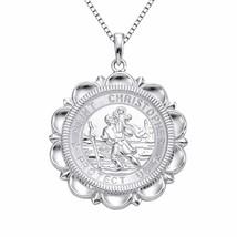 YL St Christopher Necklace Solid 925 Sterling Sliver Personalized Engrav... - $81.28