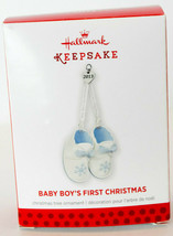 Hallmark: Baby Boy's First Christmas - Baby Booties - 2013 Keepsake Orna... - $14.44