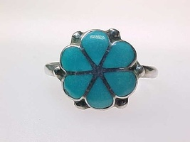 Genuine TURQUOISE FLOWER RING in STERLING Silver - Size 7 - $51.00