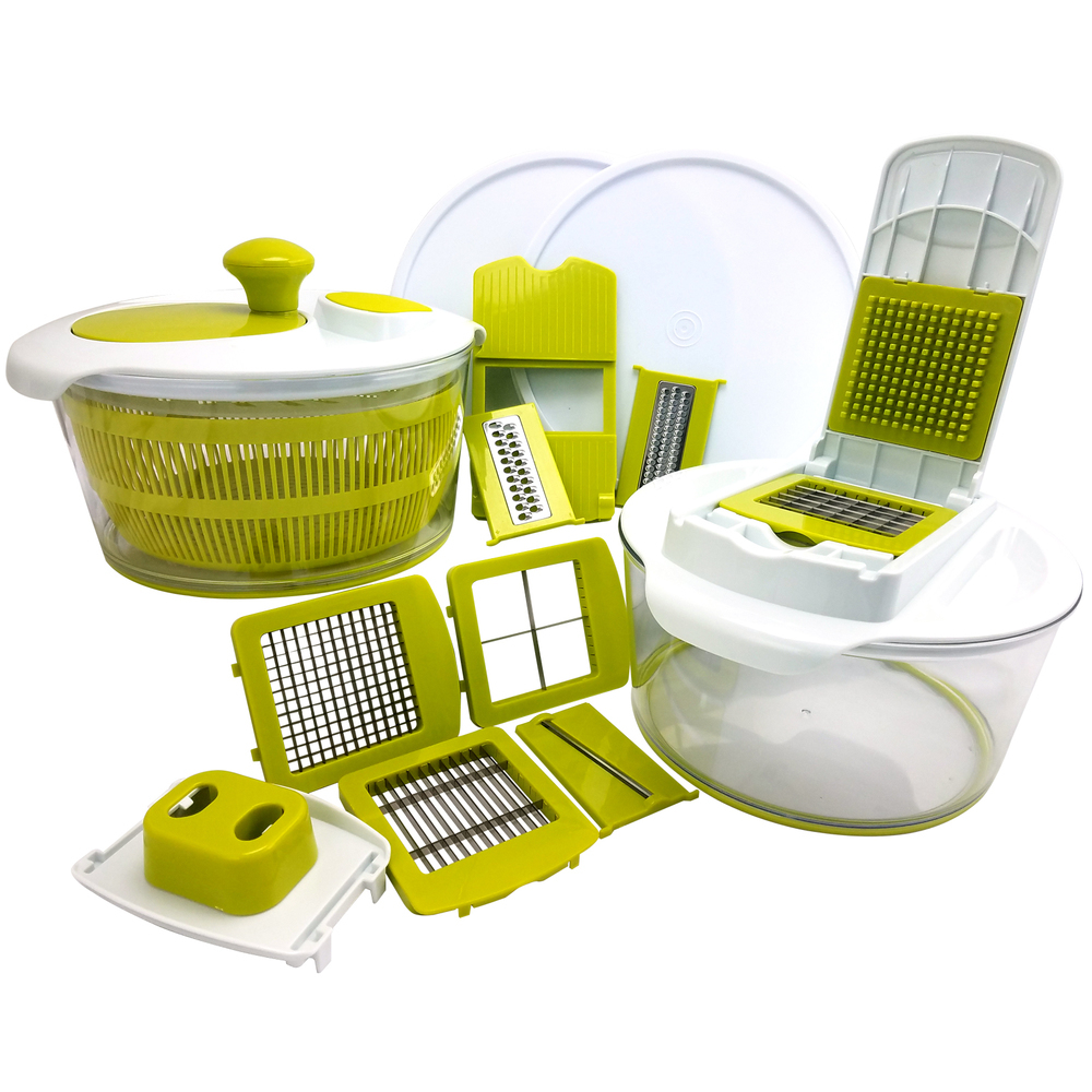 MegaChef 10-in-1 Multi-Use Salad Spinning Slicer, Dicer and Chopper with Interch
