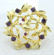 VTG Gold Tone Purple Rhinestone Bird Wreath Pin Brooch - $19.80