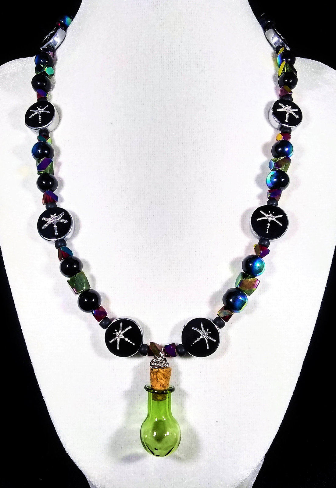 "Primary image for 19 1/2"" Alchemy dragonfly artglass bead necklace with green glass beaker pendant"