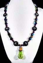 "19 1/2"" Alchemy dragonfly artglass bead necklace with green glass beaker... - $70.00"