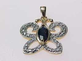 GOLD over STERLING BUTTERFLY Vintage Pendant with Genuine Dark Blue SAPP... - $32.00