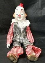 "Porcelain Clown Figurine 18"" Doll w Ceramic Feet, Hands, Face Red Hat Ci... - $24.18"