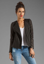 Nwt Vince Lamb Leather Sleeve Asymmetric Black Jacket Size 4 $650.00 - $349.99