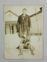 Man Boy Pilot Helmet Goggles Faded Vintage B&W Photograph Snapshot 5 x 7 - $9.89