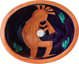 "Mexican Oval Bathroom Sink ""Terra Cotta Musician"" - $172.00"