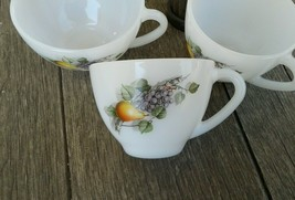 Vintage Arcopal Fruits of France milk glass cups 1X Tea  2X Coffee - $14.14