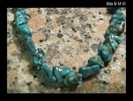 Genuine Chunky TURQUOISE NUGGETS NECKLACE - 16 1/2 inches - FREE SHIPPING - $65.00