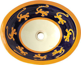 "Mexican Oval Bathroom Sink ""Yellow Lizard"" - $172.00"
