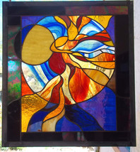 Original Signed Stained Glass Window Panel Fire Dancer woman leaded Red Blue - $428.00