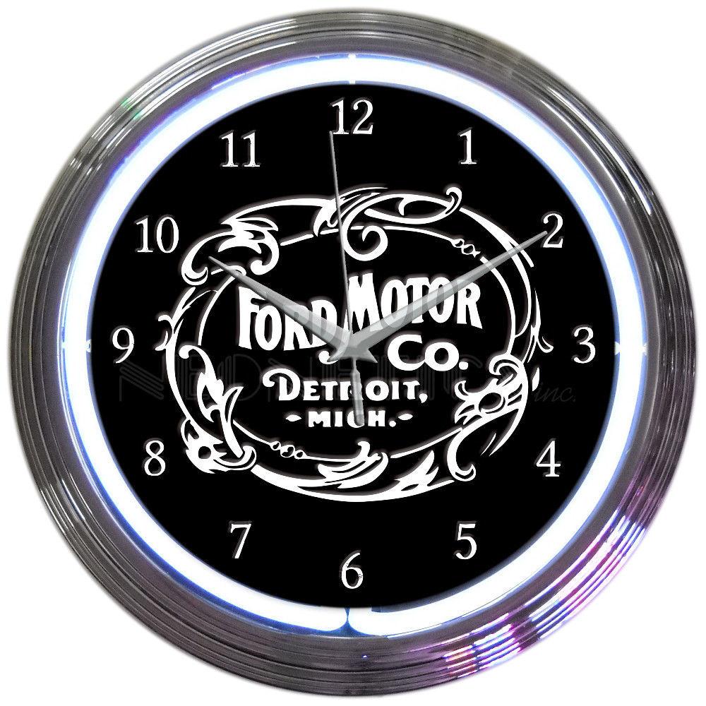 "Ford Motor Company 1903 Heritage Emblem Car Racing OLP Sign Neon Clock 15""x15"" - $69.00"