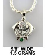 Kissing Dolphin Pendant Atocha Silver Shipwreck Coin Imitation Emerald M... - $29.00