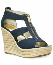 MICHAEL Michael Kors Damita Platform Wedge Sandals Dark Denim Mult Sz - $89.99